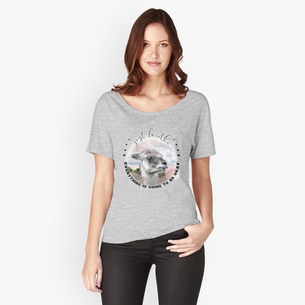 Cute Llama with Bubblegum Just Breathe  Relaxed Fit T-Shirt