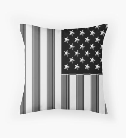 America in black and white Throw Pillow