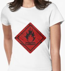 Flammable warning symbol Womens Fitted T-Shirt
