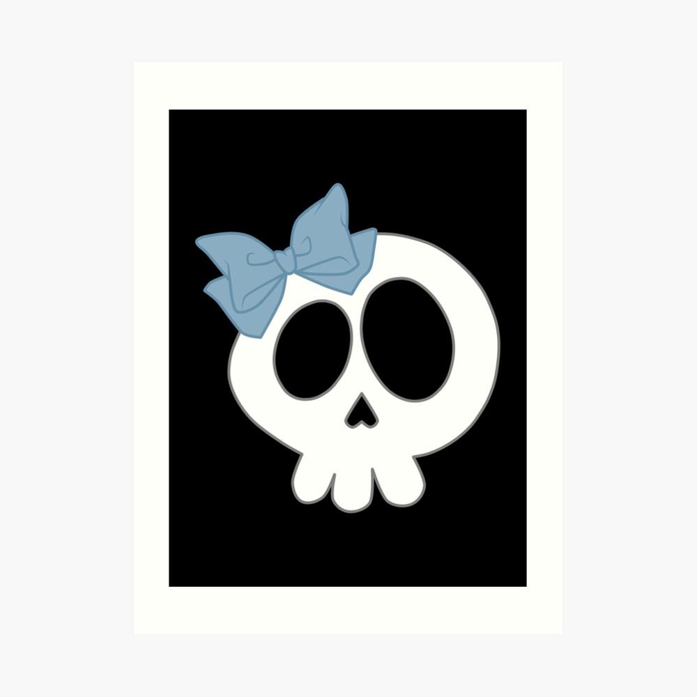 Bogenschädel Blau Kunstdruck