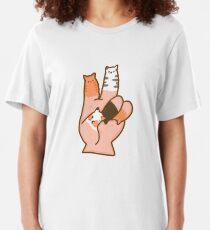 Camiseta ajustada Dedos de gato paz