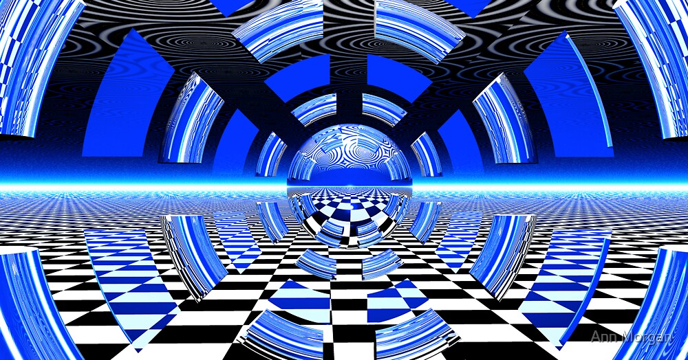 Black & Blue Squares & Circles by Ann Morgan