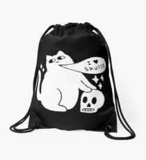 I Loves Skulls Cat Drawstring Bag