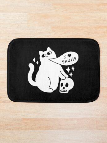 I Loves Skulls Cat Bath Mat