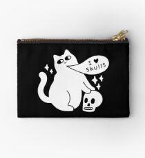 I Loves Skulls Cat Zipper Pouch