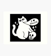 I Loves Skulls Cat Art Print