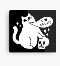 I Loves Skulls Cat Metal Print