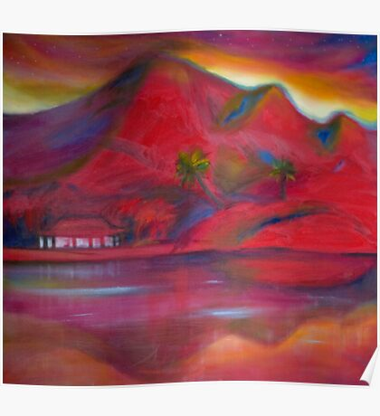 Red Landscape: a place of peace and energy Poster