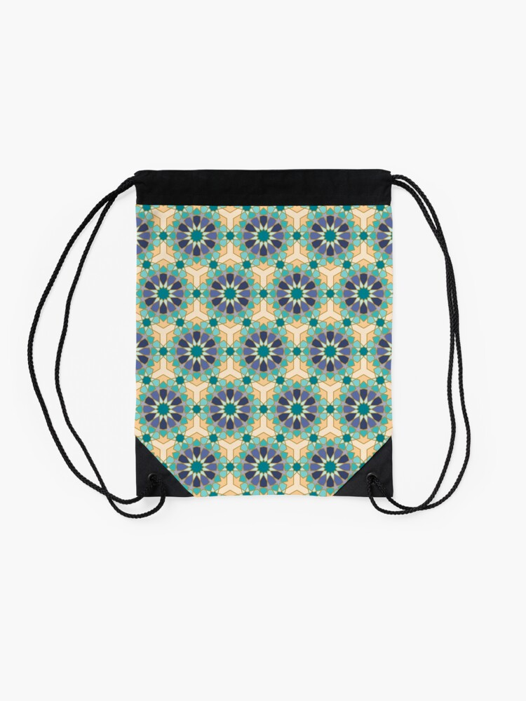 Alternate view of Geometric Pattern: Arabic Tiles: Dream Drawstring Bag