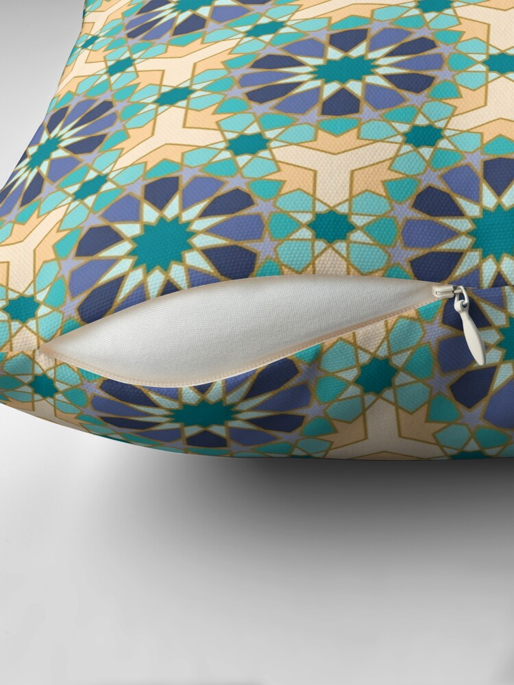 Alternate view of Geometric Pattern: Arabic Tiles: Dream Throw Pillow