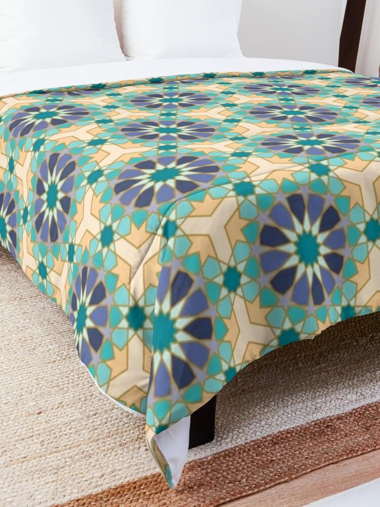 Alternate view of Geometric Pattern: Arabic Tiles: Dream Comforter