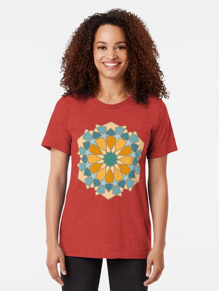 Alternate view of Geometric Pattern: Arabic Tiles: Lily Tri-blend T-Shirt