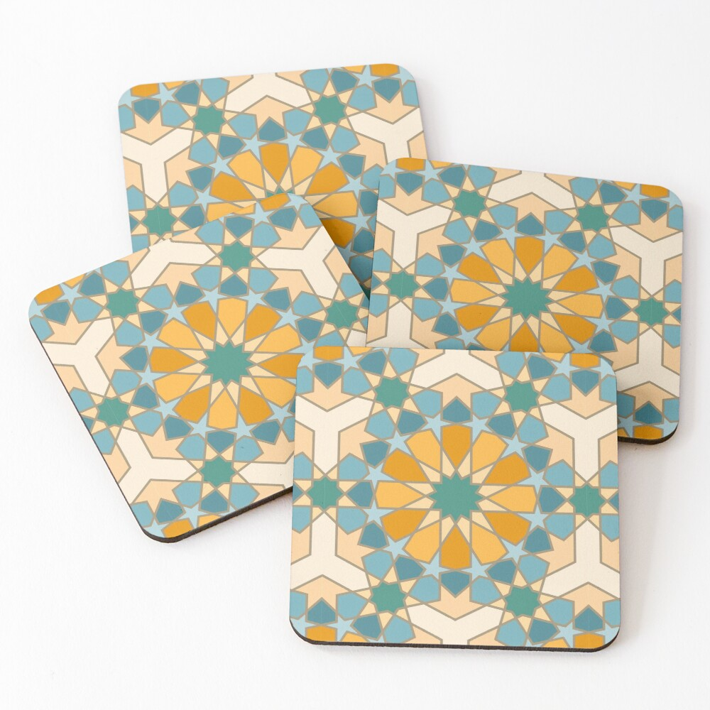 Geometric Pattern: Arabic Tiles: Lily Coasters (Set of 4)