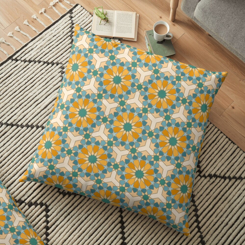 Geometric Pattern: Arabic Tiles: Lily Floor Pillow