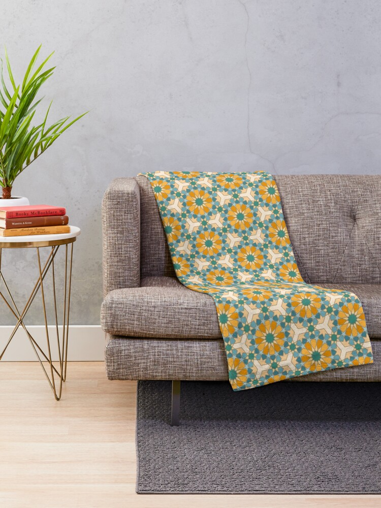 Alternate view of Geometric Pattern: Arabic Tiles: Lily Throw Blanket