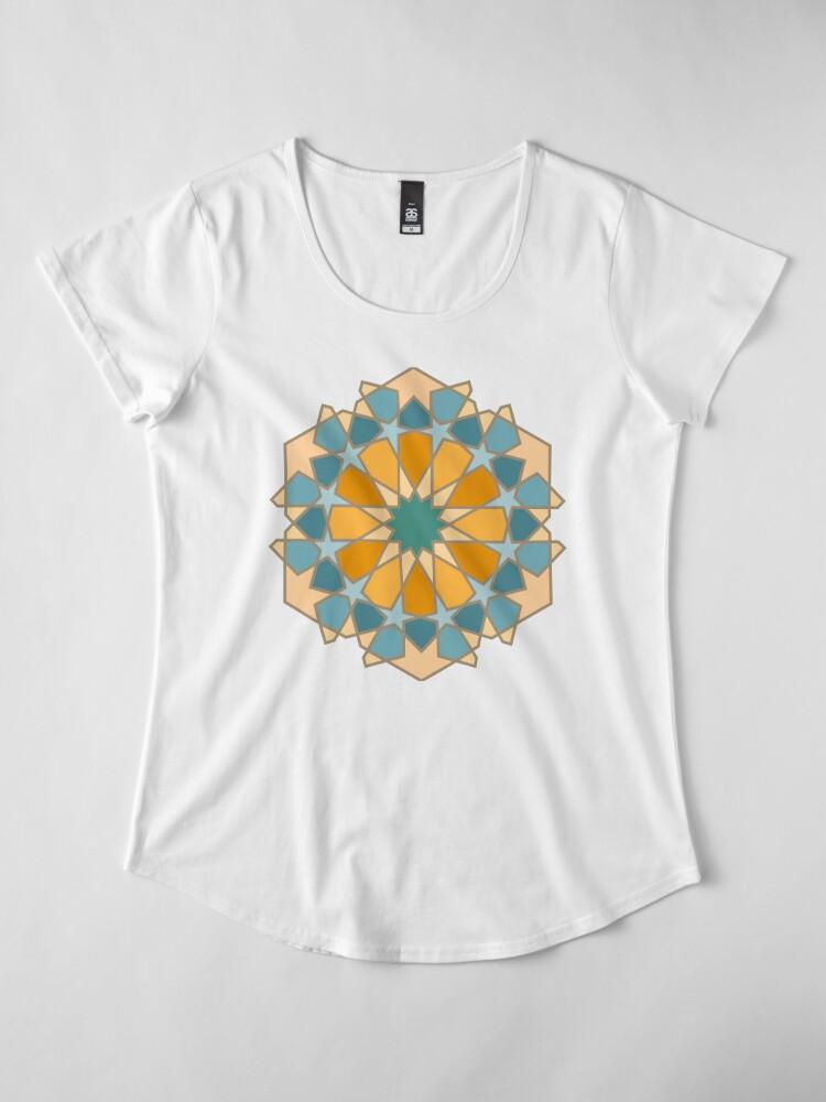 Alternate view of Geometric Pattern: Arabic Tiles: Lily Premium Scoop T-Shirt