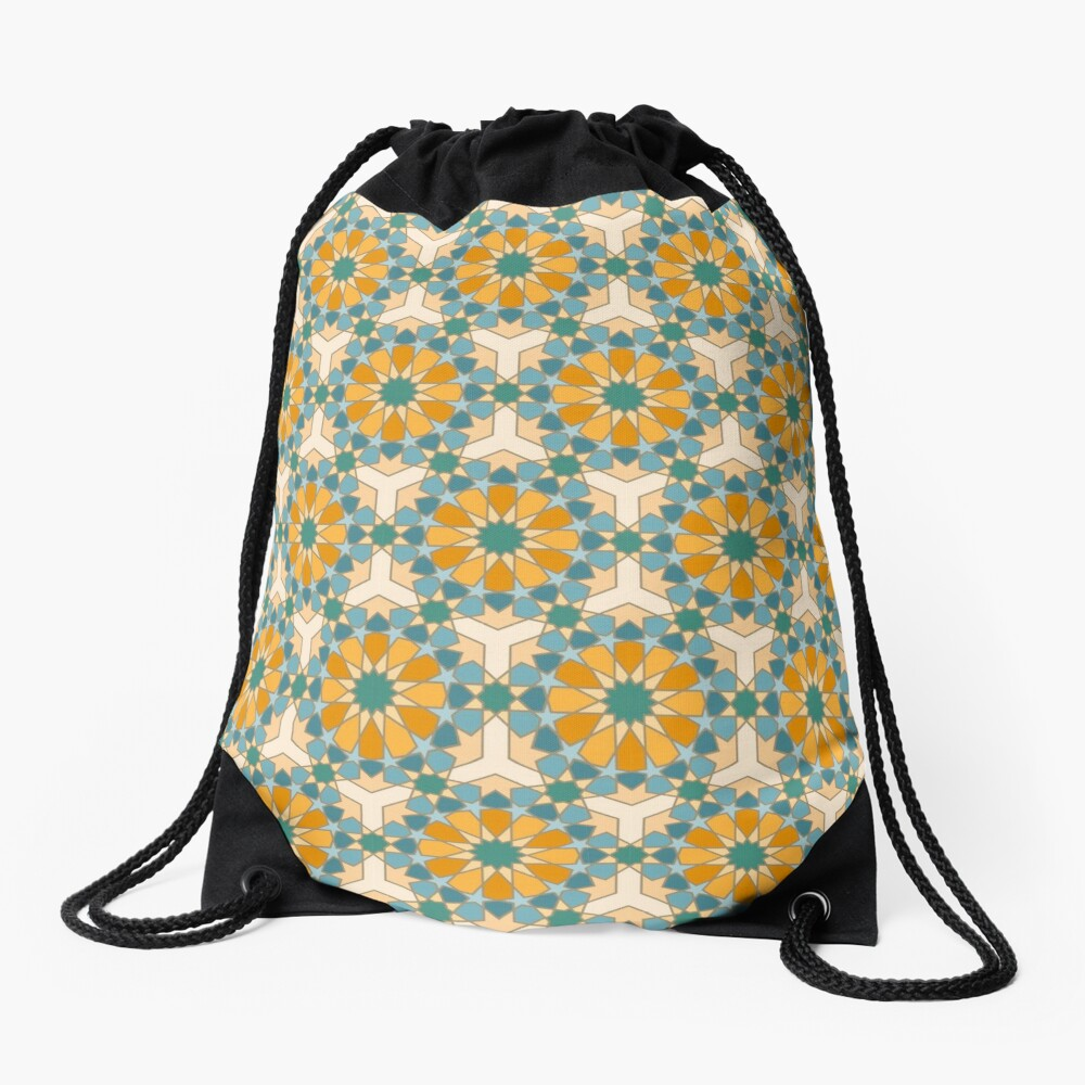 Geometric Pattern: Arabic Tiles: Lily Drawstring Bag