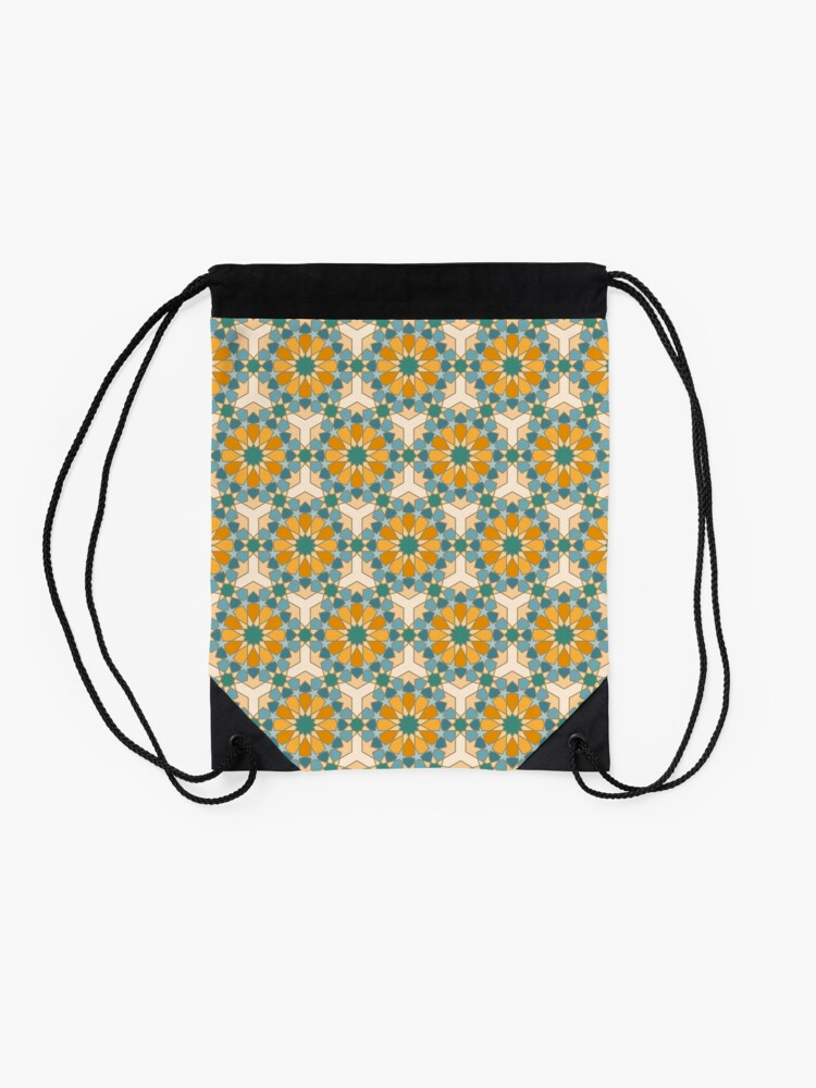 Alternate view of Geometric Pattern: Arabic Tiles: Lily Drawstring Bag