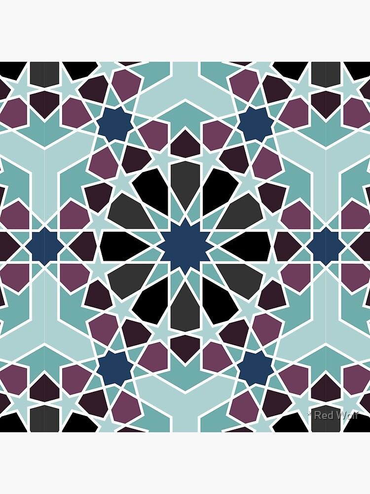 Geometric Pattern: Arabic Tiles: Midnight by redwolfoz