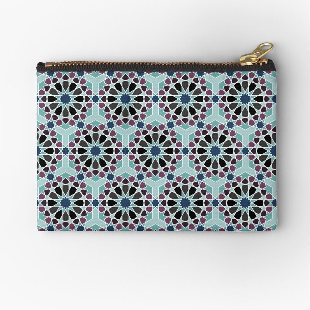 Geometric Pattern: Arabic Tiles: Midnight Zipper Pouch