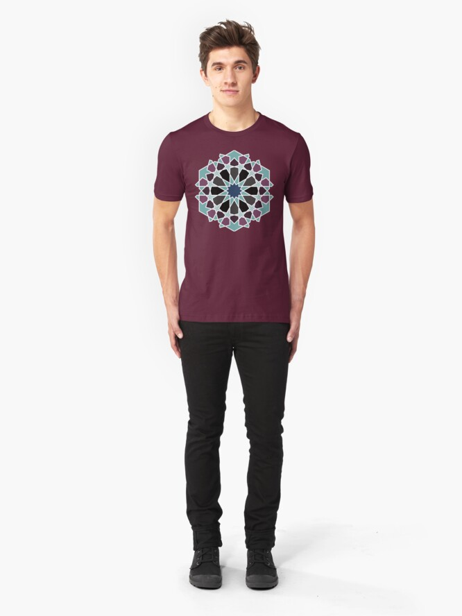 Alternate view of Geometric Pattern: Arabic Tiles: Midnight Slim Fit T-Shirt