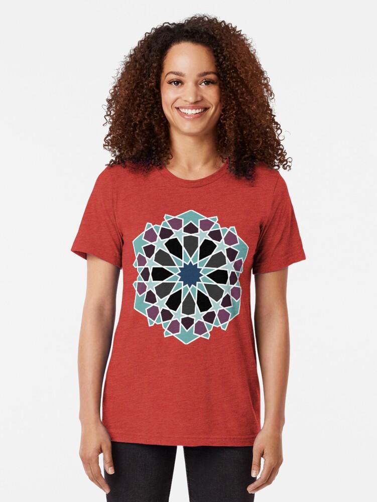 Alternate view of Geometric Pattern: Arabic Tiles: Midnight Tri-blend T-Shirt