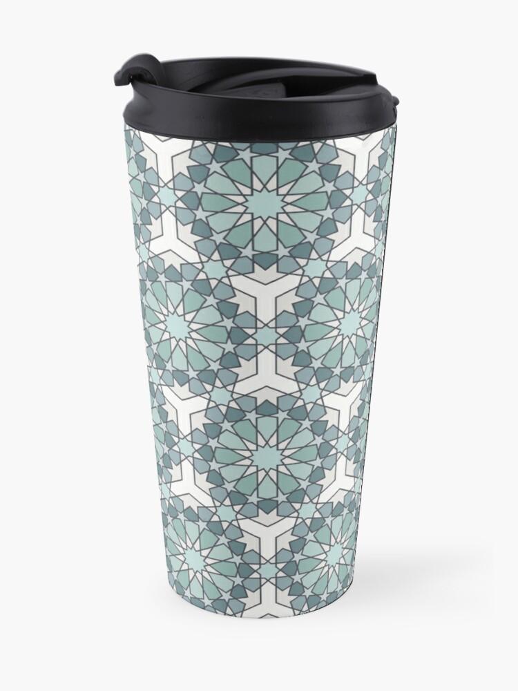 Alternate view of Geometric Pattern: Arabic Tiles: Seafoam Travel Mug