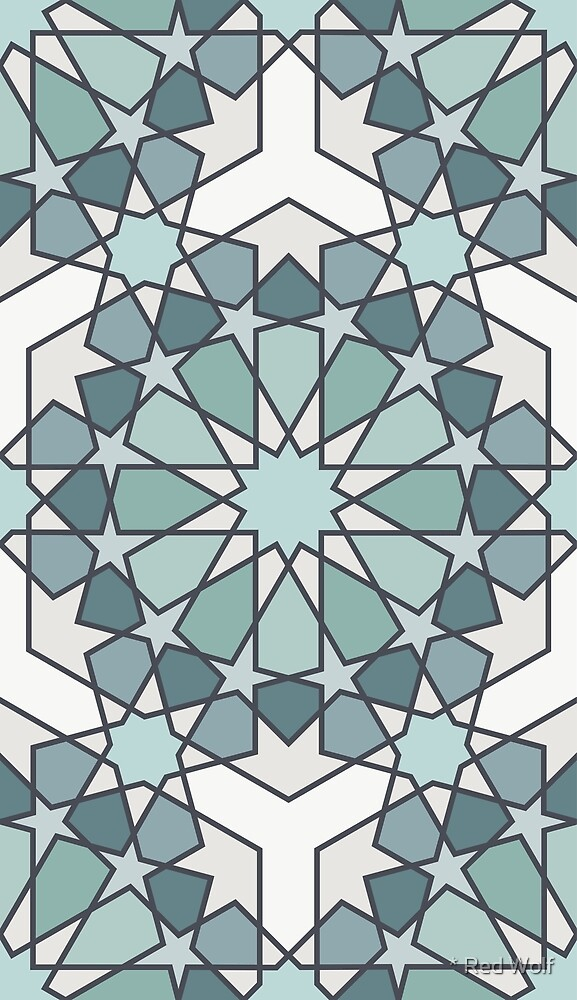Geometric Pattern: Arabic Tiles: Seafoam by * Red Wolf