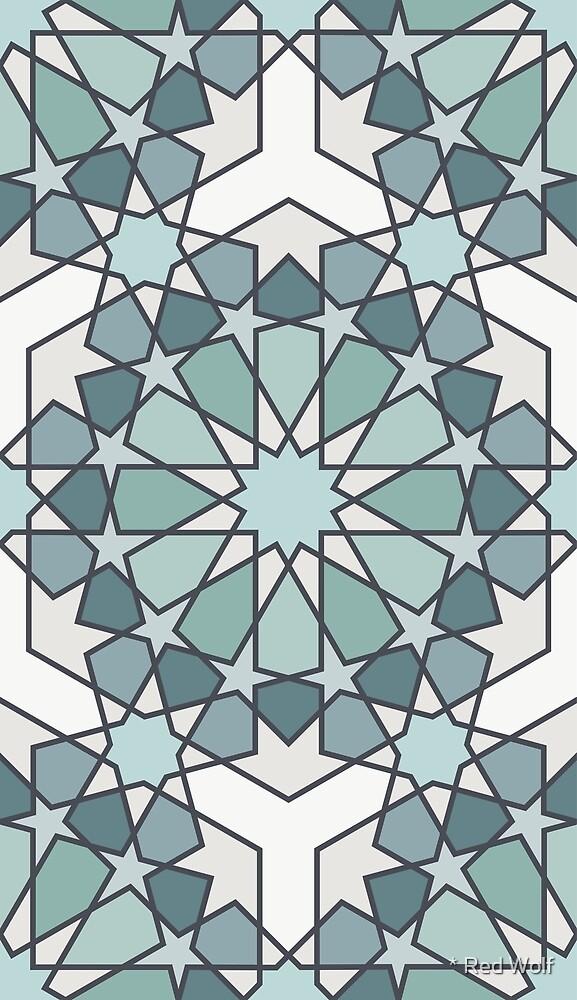 Geometric Pattern: Arabic Tiles: Seafoam by * Red Wolf