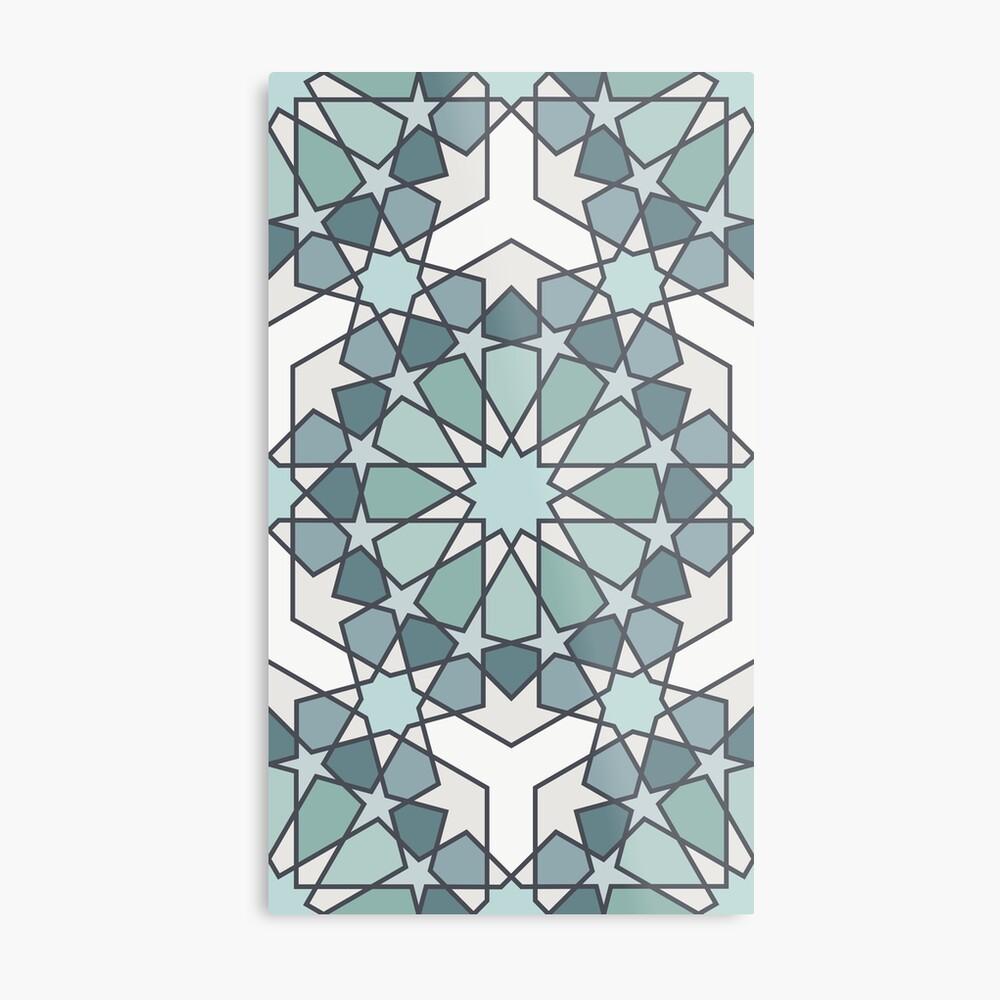 Geometric Pattern: Arabic Tiles: Seafoam Metal Print