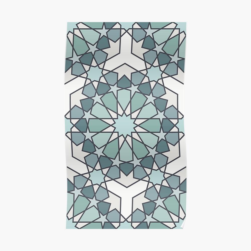 Geometric Pattern: Arabic Tiles: Seafoam Poster