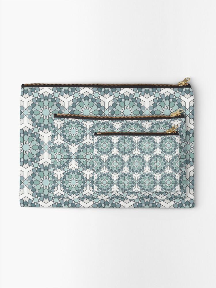 Alternate view of Geometric Pattern: Arabic Tiles: Seafoam Zipper Pouch