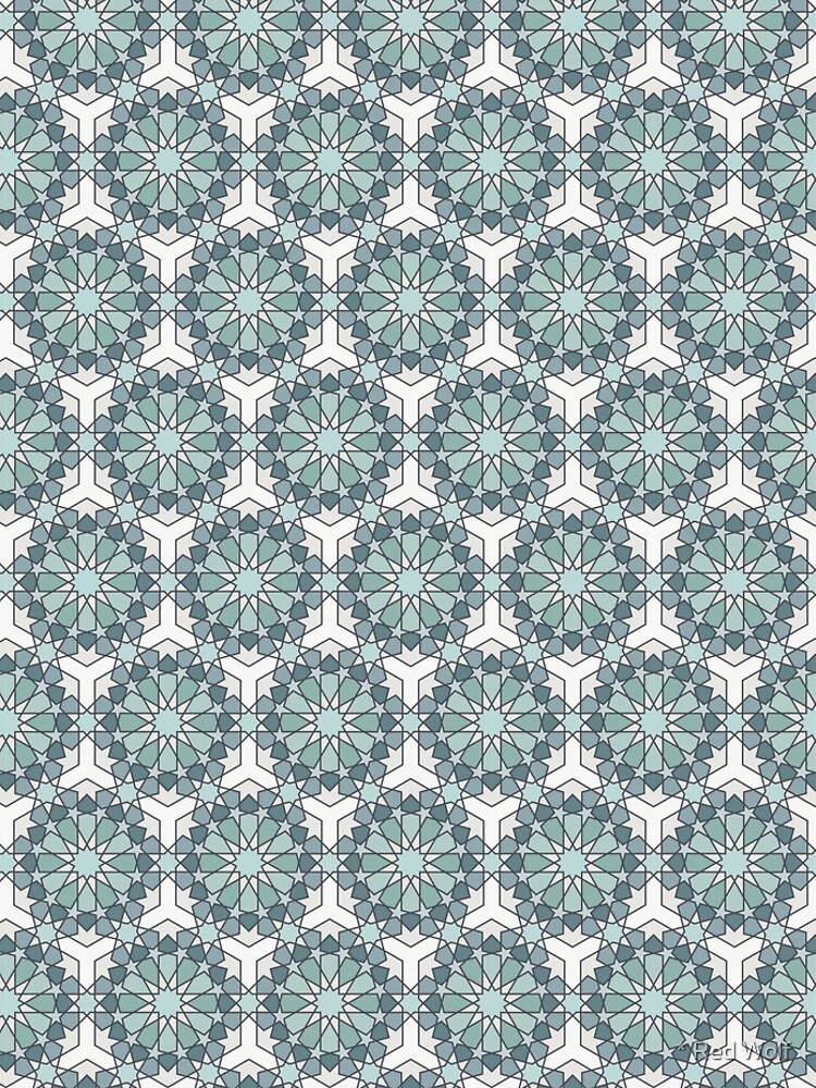 Geometric Pattern: Arabic Tiles: Seafoam by redwolfoz