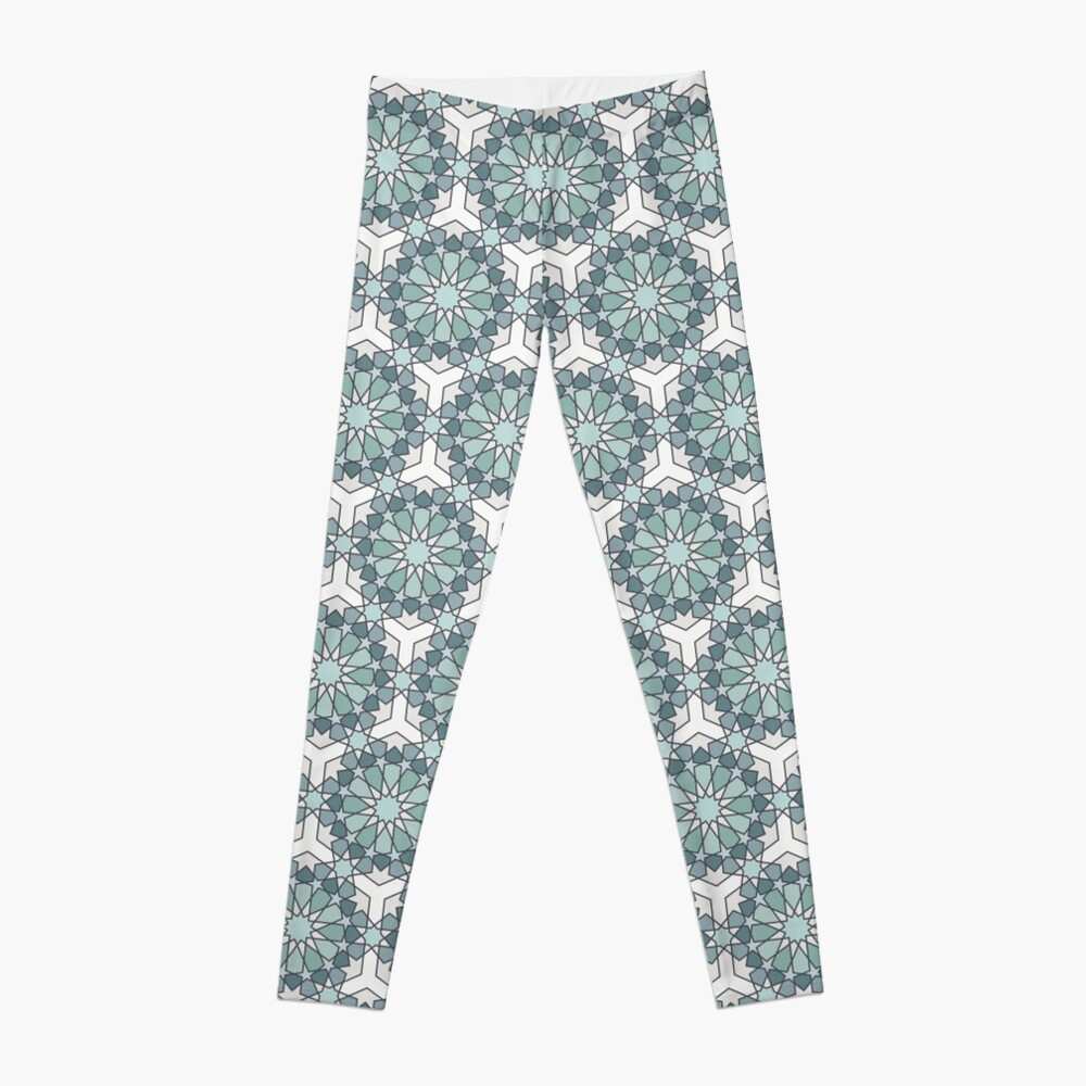 Geometric Pattern: Arabic Tiles: Seafoam Leggings