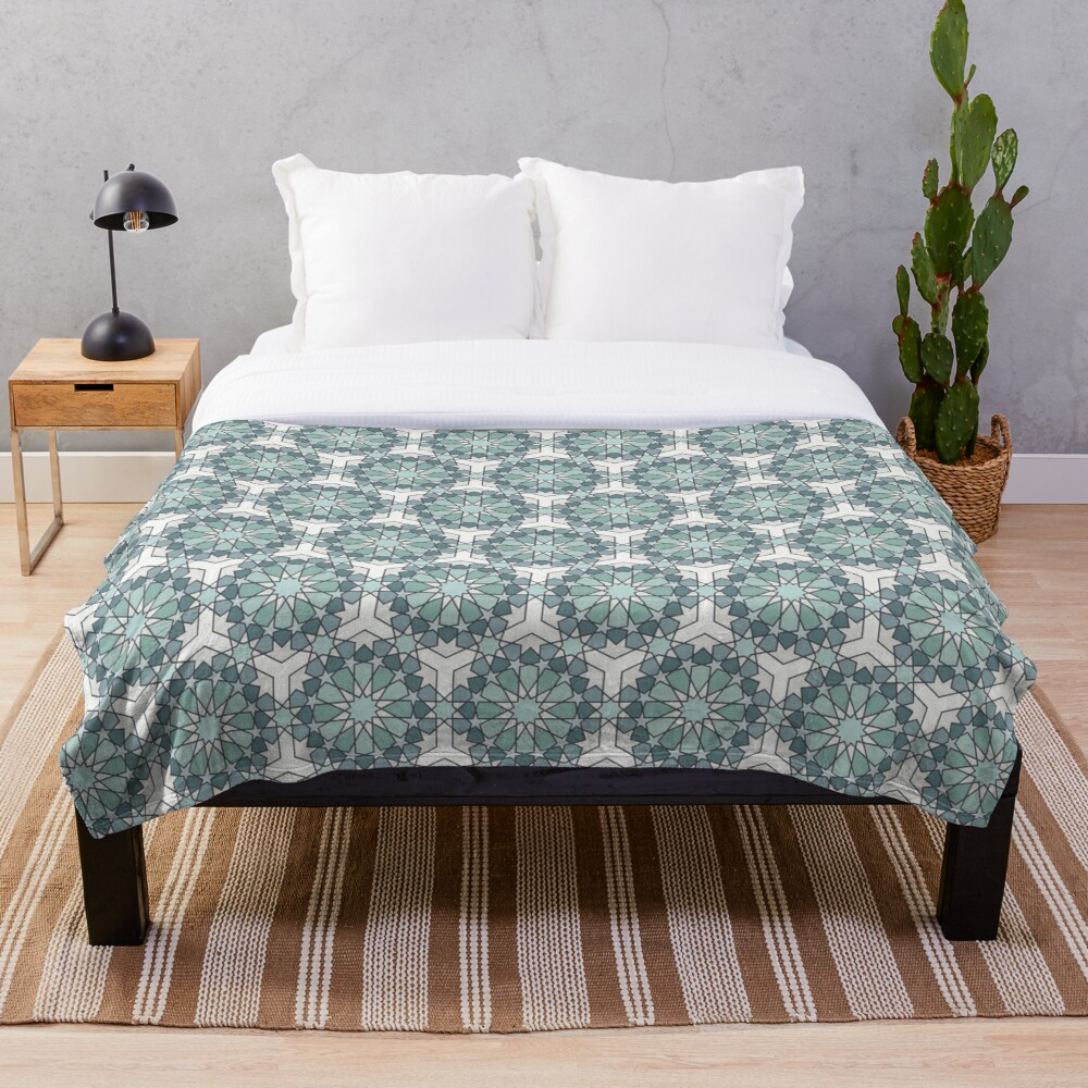 Geometric Pattern: Arabic Tiles: Seafoam Throw Blanket