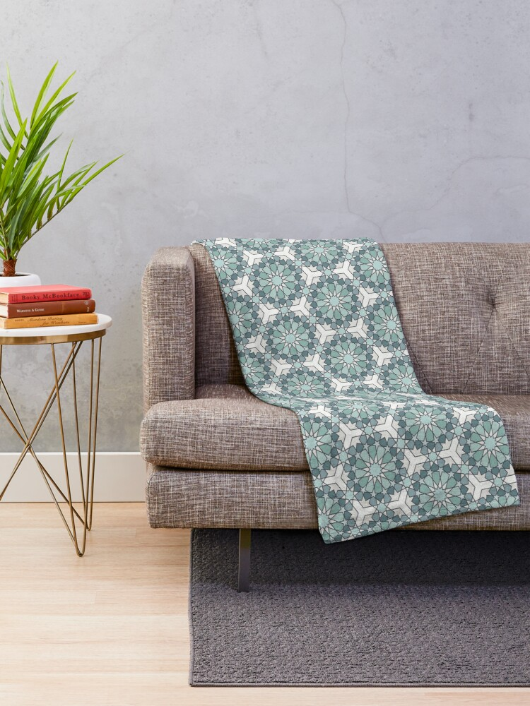 Alternate view of Geometric Pattern: Arabic Tiles: Seafoam Throw Blanket