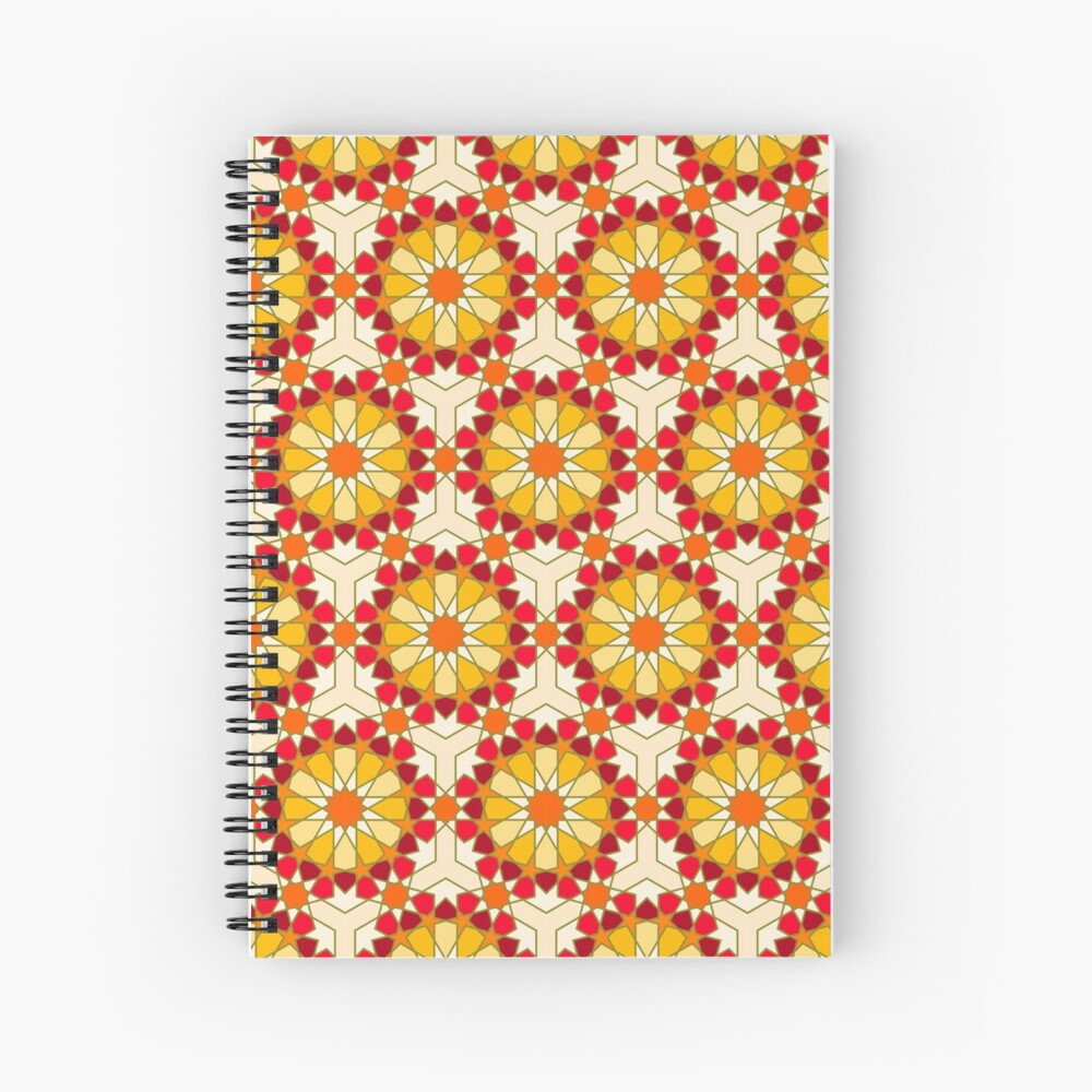 Geometric Pattern: Arabic Tiles: Sunset Spiral Notebook