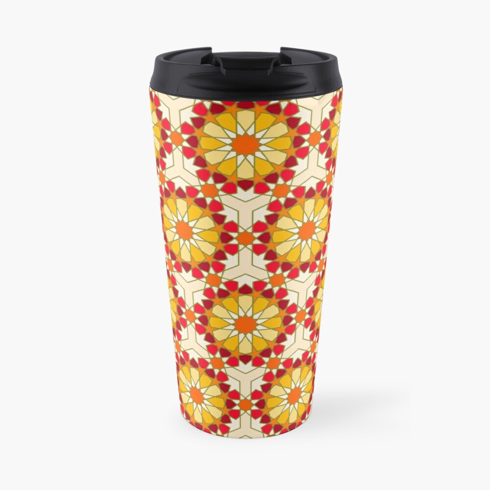 Geometric Pattern: Arabic Tiles: Sunset Travel Mug