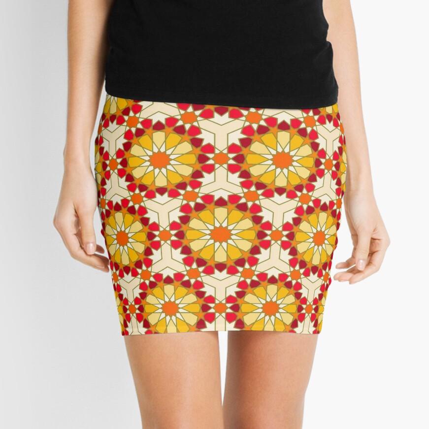 Geometric Pattern: Arabic Tiles: Sunset Mini Skirt