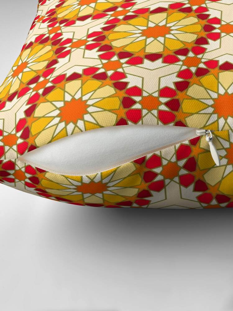 Alternate view of Geometric Pattern: Arabic Tiles: Sunset Throw Pillow