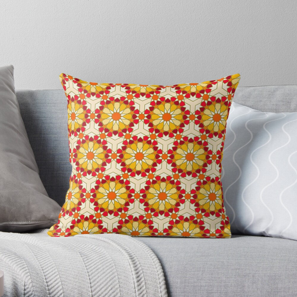 Geometric Pattern: Arabic Tiles: Sunset Throw Pillow