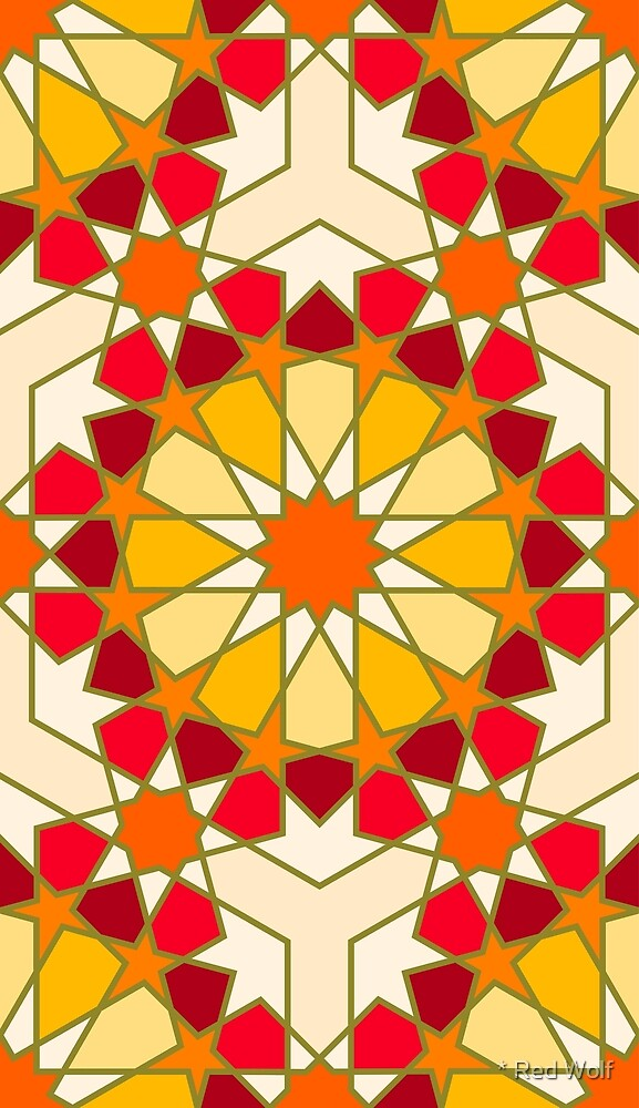 Geometric Pattern: Arabic Tiles: Sunset by * Red Wolf
