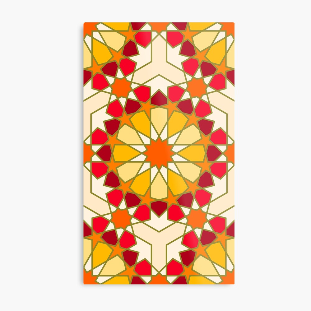 Geometric Pattern: Arabic Tiles: Sunset Metal Print
