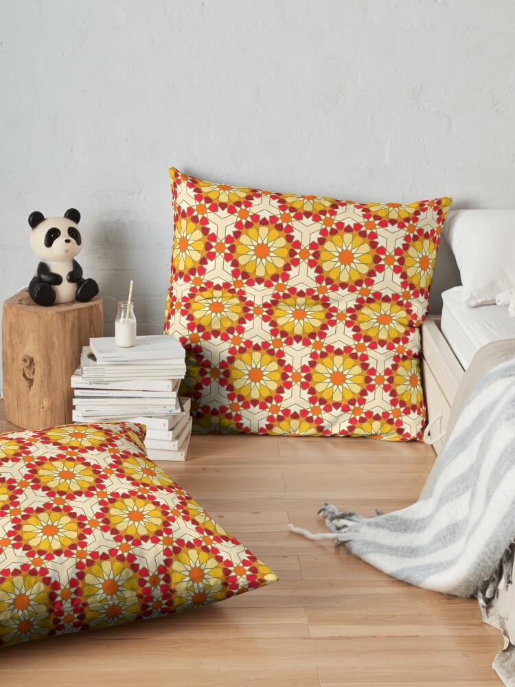 Alternate view of Geometric Pattern: Arabic Tiles: Sunset Floor Pillow