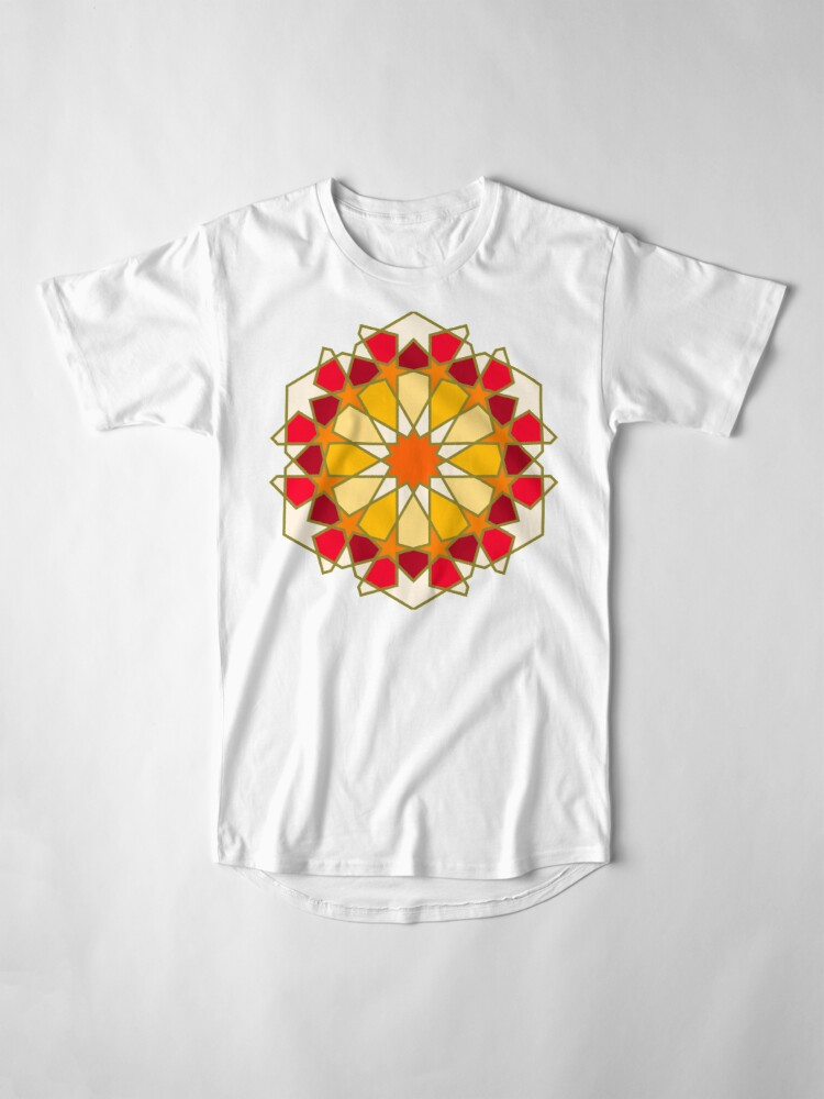 Alternate view of Geometric Pattern: Arabic Tiles: Sunset Long T-Shirt