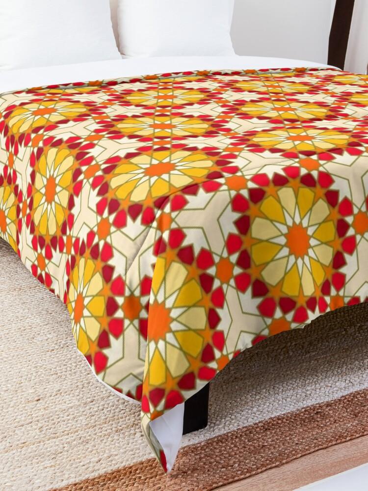 Alternate view of Geometric Pattern: Arabic Tiles: Sunset Comforter