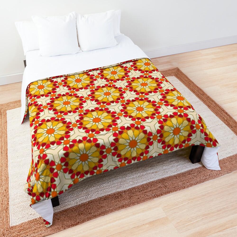 Geometric Pattern: Arabic Tiles: Sunset Comforter