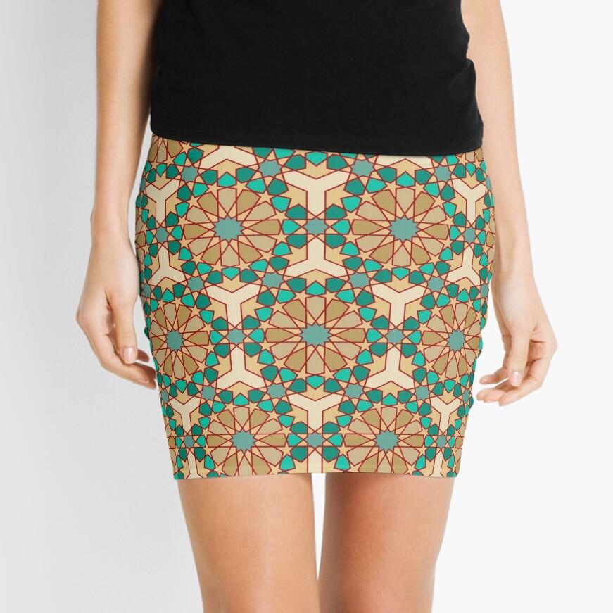 Geometric Pattern: Arabic Tiles: Turquoise Mini Skirt