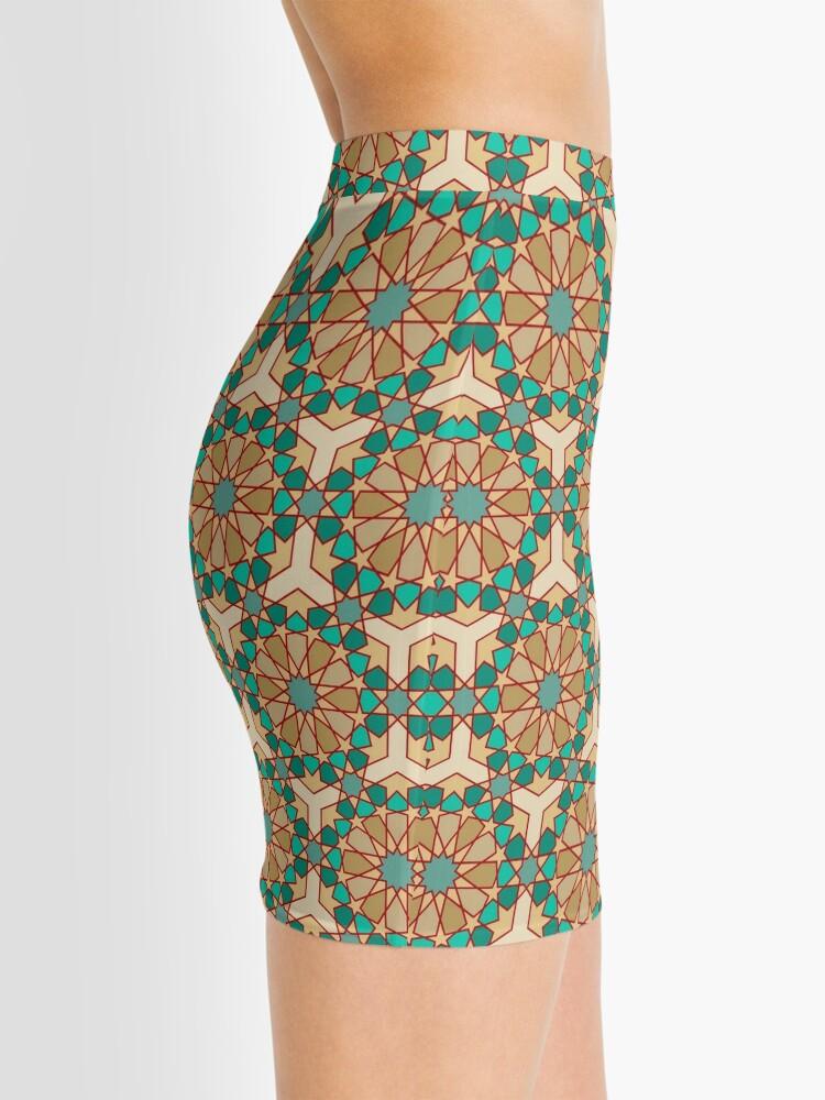 Alternate view of Geometric Pattern: Arabic Tiles: Turquoise Mini Skirt