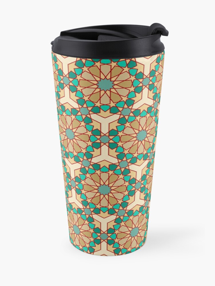 Alternate view of Geometric Pattern: Arabic Tiles: Turquoise Travel Mug